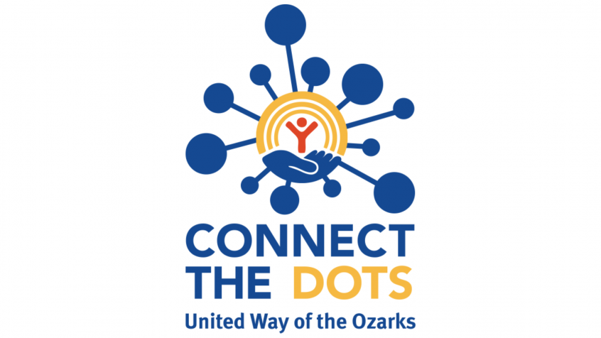 "united way logo with text that reads ""connect the dots, united way of the ozarks"