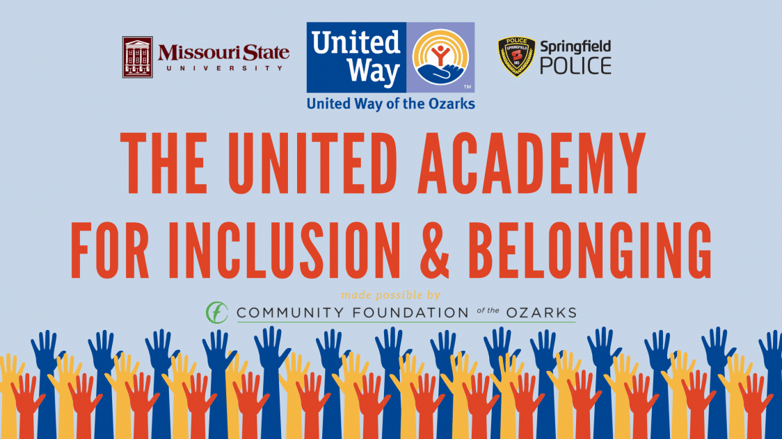 "banner that reads ""the united academy for inclusion and belonging"" with many multi-colored illustrated hands reaching skyward"