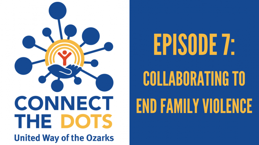 "connect the dots logo with a heading that reads ""episode 7: collaborating to end family violence"""
