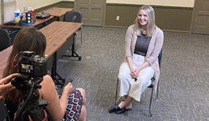 Samantha Sherman being interviewd